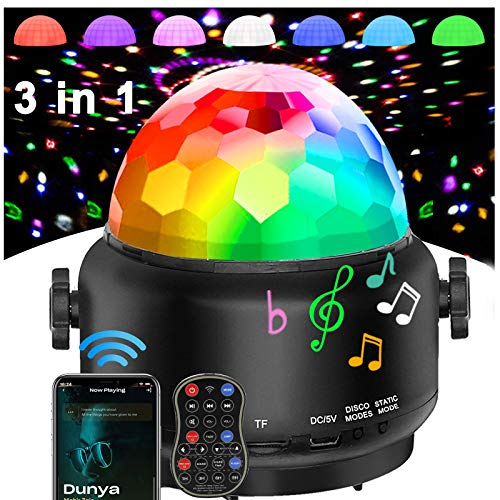Disco Lights Bluetooth Speaker,USB Party Lights Sound Activated,3 in 1 Remote Control Halloween Mini Disco Ball Light,LED Night Light for DJ,Xmas Parties,Pool,Club,Home,Church,Karaoke,Wedding