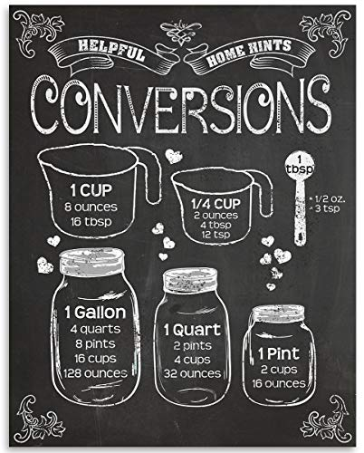 Kitchen Measurement Conversion Chart on Chalkboard Style 11x14 Unframed Art Print Poster - Great Cooking and Baking Wall Art Decor for Kitchen, Culinary Classroom, Restaurant