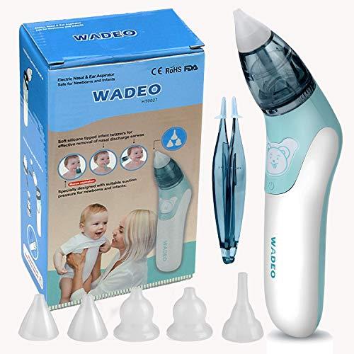 Nasensauger Baby, WADEO Elektrischer Nasenreiniger & Ohrenschmalz-Entferne mit 5 wiederverwendbaren Rotzsaugdüsen für Säuglinge & Kleinkinder