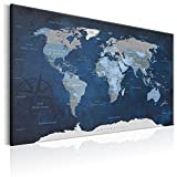 artgeist Pinboard World Map 35.4' x 23.62' Cork Board & Canvas Print Wall Art 1 pcs Memoboard with 50 Pins Noticeboard Message Board Image Picture Home Decor Travel Map Map of The World k-A-0086-p-b