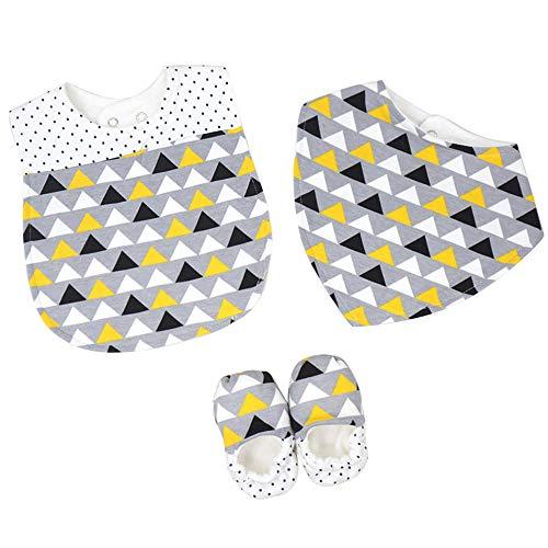 Recién nacido Babero Bandana con Zapatos 3 Paquetes - Bebé Súper Absorbente Bufanda Rriangular de Algodón Botines Patucos 0-1 Años