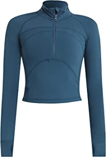 Women's Cropped Workout Jacket 1/2 Zip Pullover Running Athletic Outwear Slim Fit Long Sleeve Yoga Top