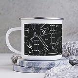 Divertente tazza da caffè smaltata, 283,5 ml, con libri e cancelleria in bianco e nero in lavagna, tazza da caffè, tazza da caffè, tazza per San Valentino, compleanno