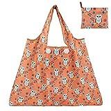 Etercycle ボタン付き 買い物袋 エコバッグ ビニール袋有料化対策 折りたたみ 肩掛け コンパクト 防水素材 収納袋 (オレンジ・フクロウ)