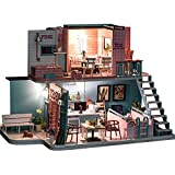 Mini Zimmer Craft Kits DIY Dollhouse For Erwachsene Kinder Unterrichtszwecke Geschenke 3D DIY Holz Miniatur-Puppenhaus-Kits mit LED-Licht kreativen Handarbeit Home Möbeln 2 Stufen Baumaschinen Modell
