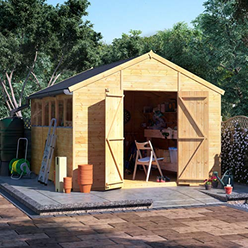 BillyOh Expert Tongue and Groove Apex Workshop | Garden Storage Shed | Floor, Roof and Felt Included | Windowed or Windowless Options- Multiple Sizes (12x10 Windowed)