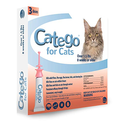 Catego Fast-Acting Flea and Tick Treatment For Cats/Kittens (Over 1.5 lbs) Kills Fleas Within 6 Hours, Prevents Flea Re-Infestations
