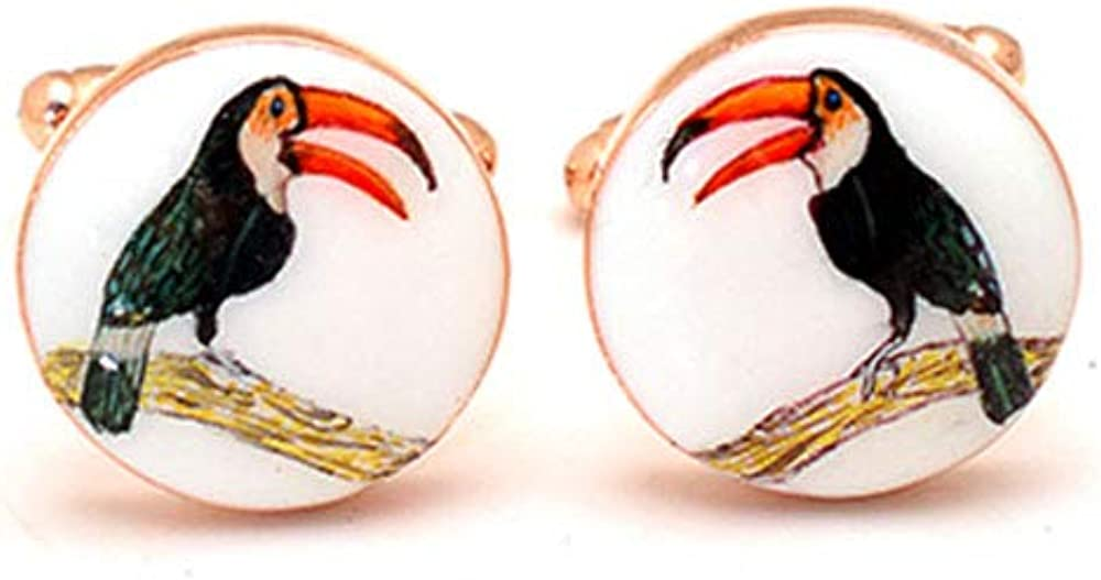 Unique Toucan Bird Cufflinks for Men, Handcrafted Animal Custom Cuff Link, Rose Gold Plated Engraved Cufflink Jewelry, Cool Groomsman Cufflink for Him