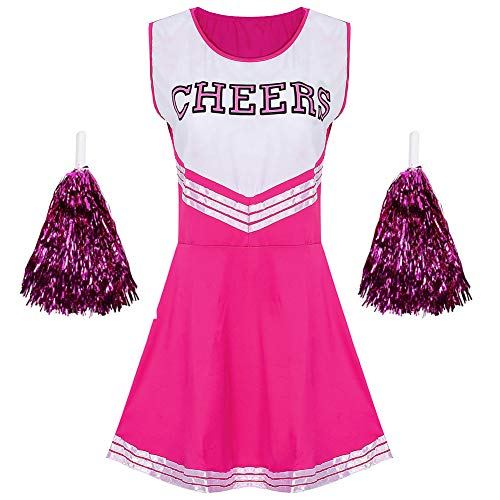 G-Kids Damen Mädchen Cheerleader Cheerleading Kostüm Uniform Karneval Fasching Party Halloween Kostüm Kleid Minirock mit 2 Pompoms Rosa S