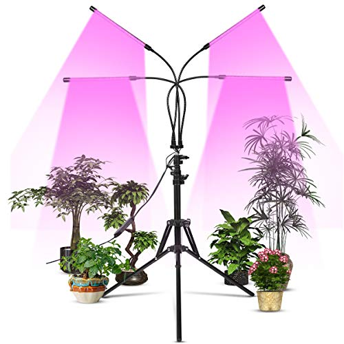Growing Lamp 90W for Indoor Plants Growth with Dual Head Gooseneck, 360 Degree Adjustable Timing Dimable LED Grow Light Bulb for Seeding Blooming Fruiting