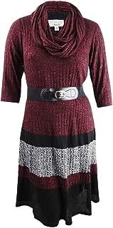 ROBBIE BEE Women's Plus Size Belted Colorblocked Sweater Dress
