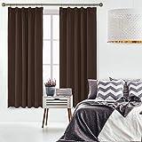 Umi.Essentials 2 Stück Verdunkelungsvorhang Vorhang mit Kräuselband Blickdicht Schal 175x140 cm Braun - 6