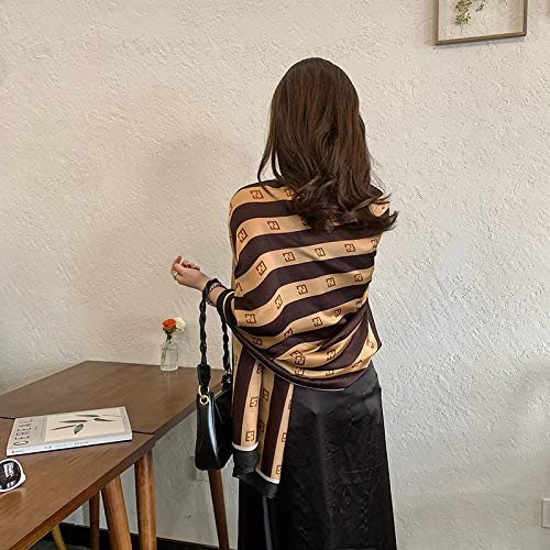 Vcnhln Pañuelo de Seda para el día de la Madre Mujer Primavera y Verano Satinado Sedoso con pañuelo Chal pañuelo de Seda Grande con Estampado de Leopardo Negro