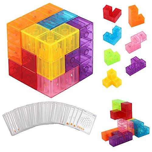 PROACC Magnetische Würfel bausteine Spielwaren für Kinder mit 7pcs magnetischer Magnete Würfel, 54pcs Smarte Teile Puzzles 3D Gehirn Training Intelligenz Stressabbau Spiel Kinder