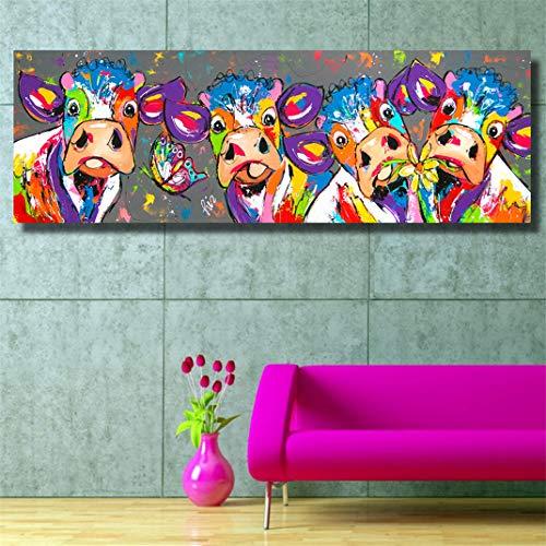 FENGCLOCK Colorear Chorro de Tinta el Grafiti Animal Cuadro en Lienzo, Pintura al óleo Vaca Wall Art Modular Poster Cuadros Modernos Decoración Salón Poster,40x120cm
