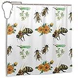 Yuanmeiju Honey Bees Duschvorhang Waterproof Polyester DuschvorhangResistant Anti Mould Bathroom Duschvorhang Hooks with 12pcs 180x180cm
