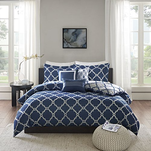 Merritt Non-Iron Reversible Printed Duvet Cover Set King Size - Navy & White Fretwork Motifs Design - 3 Pics Ultra Soft Hypoallergenic Microfiber Quilt Cover Sets