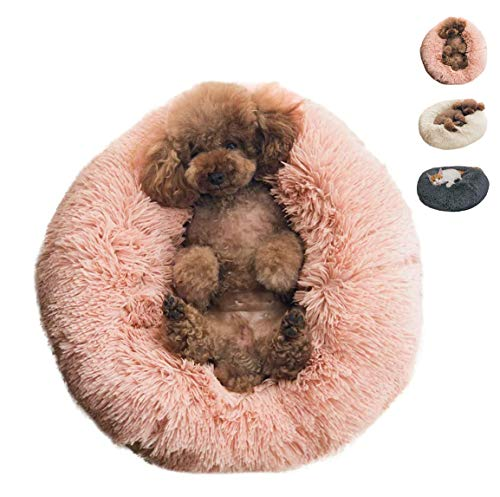 BinetGo Donut Dog Bed Cat Bed Calming Anxiety,Pet Fluffy Bed Donut Cuddler Bed for Small Medium Dog and Cat, Joint-Relief and Improved Sleep – Machine Washable, Waterproof Bottom (Medium, Pink)