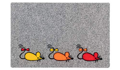 LAKO Motivmatte Matflock, Nadelfilz, 159 Tier 3 Mäuse rot, orange, gelb, 60 x 40 x 0,8