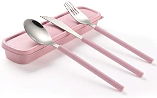 TileMiun 3 Piece Stainless Steel Flatware Set with Portable Box Camping Travel Utensils Set with Knife Fork Spoon (Pink, 3...