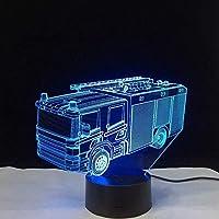 消防車3DLedランプビジュアルライト目の錯覚キッズノベルティランプテーブル常夜灯7色変化する照明器具