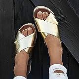 ZUOX Zapatillas Home Respirables,Zapatillas con Sandalias de Plataforma, Sandalias Femeninas de Talla Grande con Dedos Abiertos-Golden_35,Suave Bañarse Chanclas