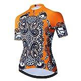 Weimostar Women's Cycling Jersey Short Sleeve Bike Shirt Top Girl MTB Bicycle Clothing Retro Orange Size L