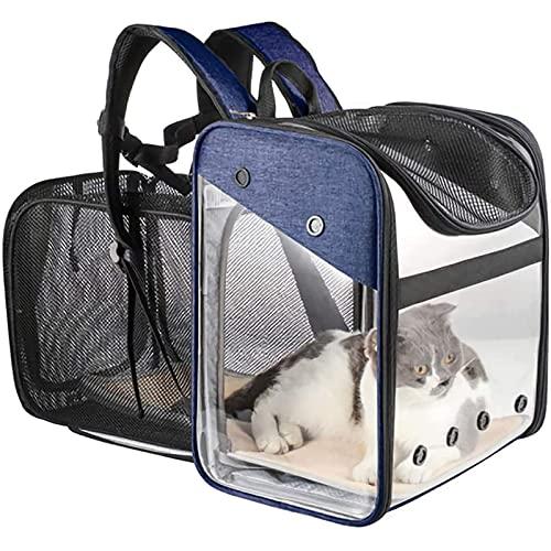 WHSPORT Transportin Gato, Transportin Perro Pequeño Mascotas Cómodo Bolso para Transporte En Tren, Coche, Avión Mediano (Color : Blue)