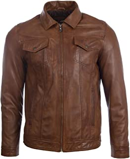 Aviatrix Men's Super-Soft Real Leather Classic Harrington Fashion Jacket (AGQ5)