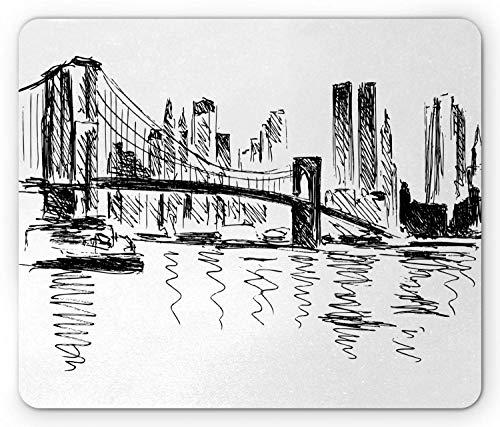 Nyc Scene Mouse Pad Sketchy Bleistift gezeichnete Illustration von Gebäuden Brücke und das Flussrechteck rutschfeste Gummi Mousepad Standardgröße Anthrazit Grau und Weiß
