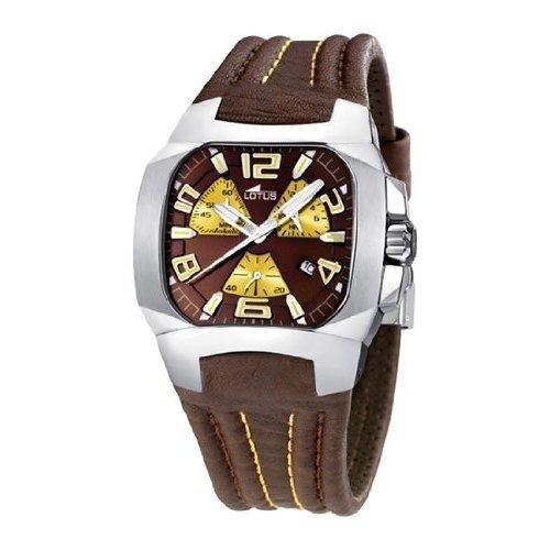 Lotus 15502-8 - Reloj cronógrafo de caballero de cuarzo con correa de piel marrón - sumergible a 50 metros