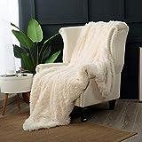 Reafort Luxury Long Hair Shaggy PV Fur Faux Fur Oversized Throw Blanket (Cream, 60'X70' Throw)