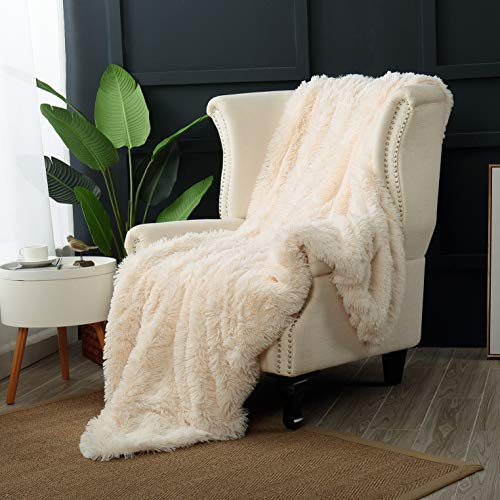 Reafort Luxury Long Hair Shaggy PV Fur Faux Fur Oversized Throw Blanket (Cream, 60'X70' Throw)