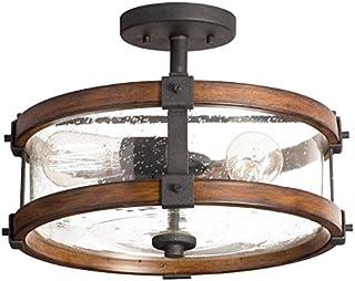Kichler 38171 Distressed Wood Semi Flush Mount Light, 3, Black