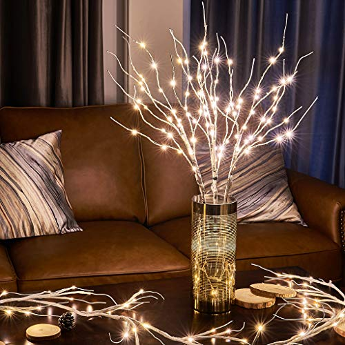 EAMBRITE 90LT Birch Twig Branches with Fairy Lights 30IN Natural Willow Branches Plug in for Holiday Party Wedding Spring Decoration Indoor Outdoor Use (Vase Excluded)