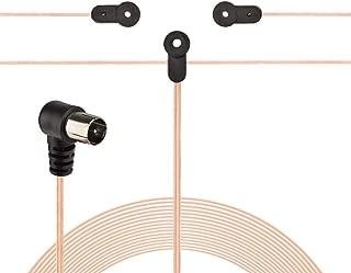 Antena dipolo FM Radio 10.5ft Longitud del Cable Receptor FM Interior Antena con TV Conector Hembra TV Conector F Hembra a Macho Antena FM
