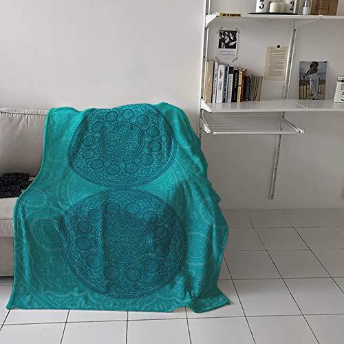 Manta de franela de felpa con textura de mandala de aguamarina, suave, ligera, acogedora, decorativa para sofá