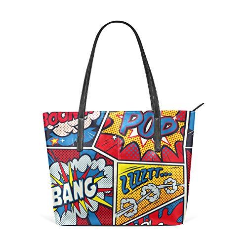 MyDaily Damen Handtasche Retro Pop Art Comic bunt PU Leder Top Griff Schultertasche