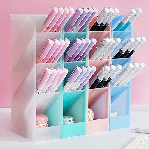 Soporte para Bolígrafo de Escritorio, 4 Piezas Portalápices Multifuncional 4 colores 16 compartimentos para Almacenar Bolígrafos en Escuelas Oficinas y Hogares(Verde Rosa Blanco Azul)