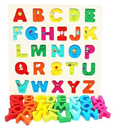 Toys of Wood Oxford TOWO Bloques de Madera del Alfabeto - Bloques de Colores Puzzle Letras Madera - Aprendizaje temprano Juguetes de Madera educativos para bebé