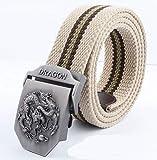 YUANZYYD Cinturón De Lona,Rayas De Color Beige Hermosas Cuentas De Animales De Dragón Emblema Militar Cinturón De Lona Hebilla De Aleación Cinturón De Hombres Militares Cinturones Tácticos del Ejér
