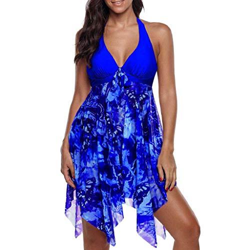 VECDY Bikini Damen Set Sexy Badeanzug Badebekleidung Schwimmen Gepolsterter Tankini Swimdress Badeanzug Beachwear in Übergröße Unterwäsche (T-Blau, M)