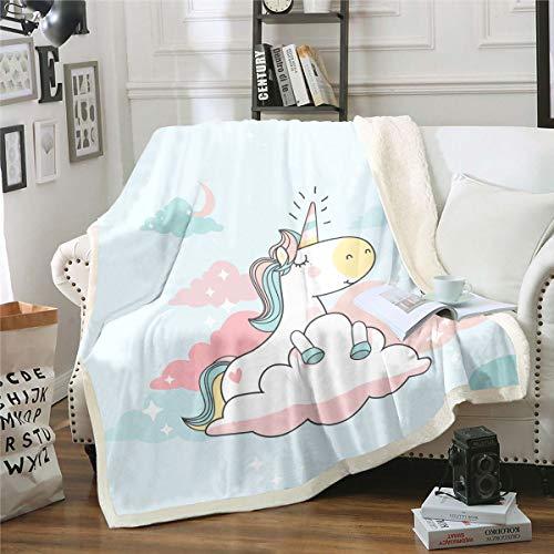 Manta de sherpa de unicornio para niños y niñas, manta de forro polar de unicornio de dibujos animados de fantasía, linda manta de felpa, decoración de cuento de hadas para sofá cama, 126 x 152 cm