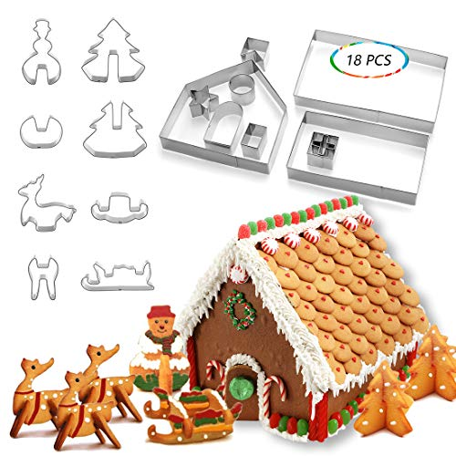 HONGECB 3D Casa Galleta De Jengibre, Juego de cortador de galletas Christmas Gingerbread House, Acero Inoxidable Molde para Galletas Navideñas, Navideñas para Accesorio de Cocina (18 Piezas)