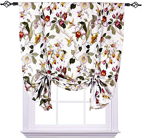 "Flora Tie Up Curtain, Flowers Birds Retro Room Darkening Blackout Curtain, Adjustable Balloon Curtain for Kitchen Room Bedroom (1 Panel 42"" W x 63"" L)"