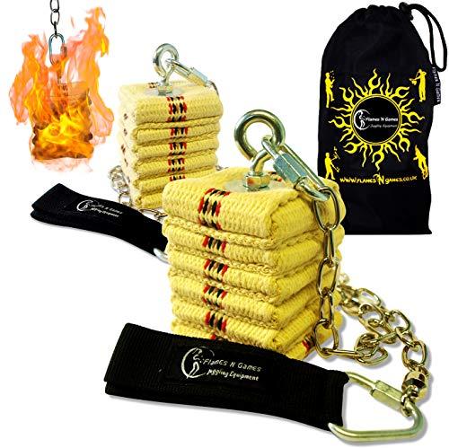 Pro Chain Feuer Poi Cathedral Kevlar Fire Heads Feuer Poi (Paar) + Reisetasche von Flames N Games (Cathedral)