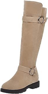 Zanpa Women Fashion Knee High Boots Low Heels Zipper