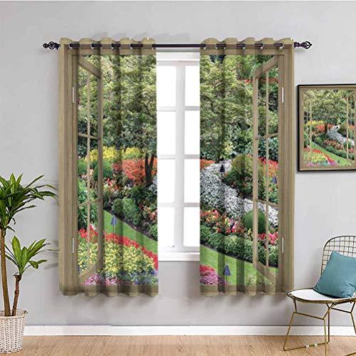Cortina japonesa oscurecida para jardín japonés con flores y plantas y hierba panorámicas a través de ventanas de madera rústica, fácil de limpiar, nogal, verde, rosa, ancho 63 x largo 63 pulgadas