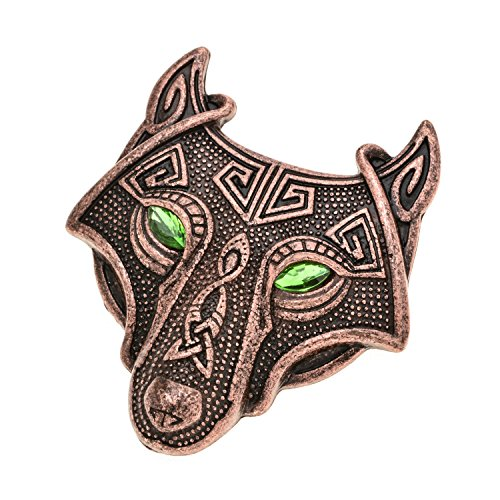 Viking Norse Wolf Head Brooch Pin Green Eye Antique Copper Gothic Pendant Irish Viking Penannular Clothes Fasteners Scarf Lapel Pin