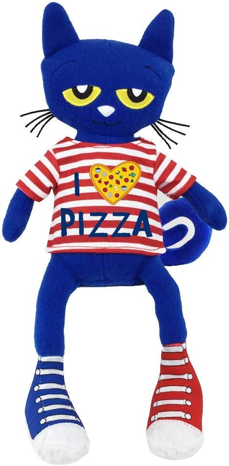 """Pete the cat: a blue cat with long arms and legs. He wears one blue sneaker and one red sneaker, and a red striped shirt that says """"I [heart icon] PIZZA"""""""